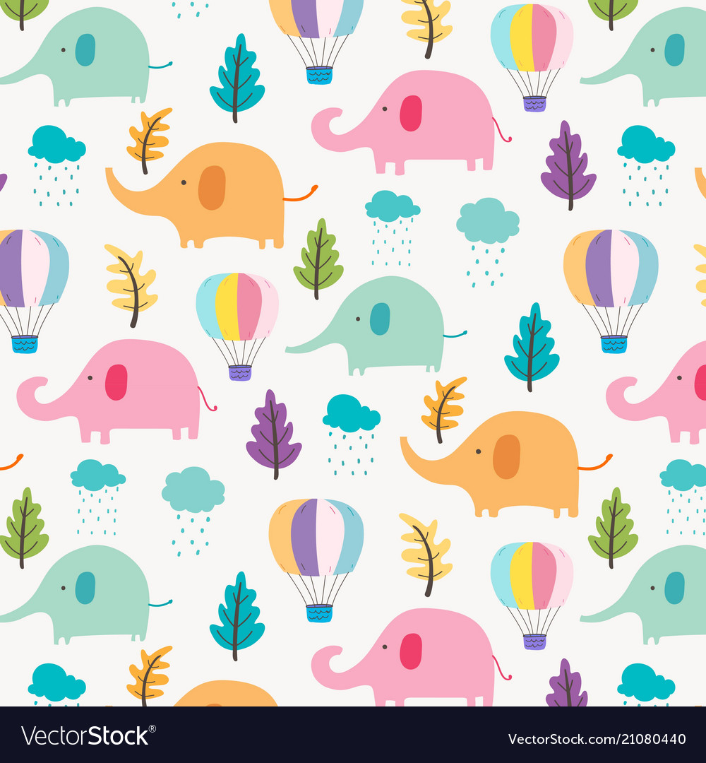 Cute elephant pattern background for kids