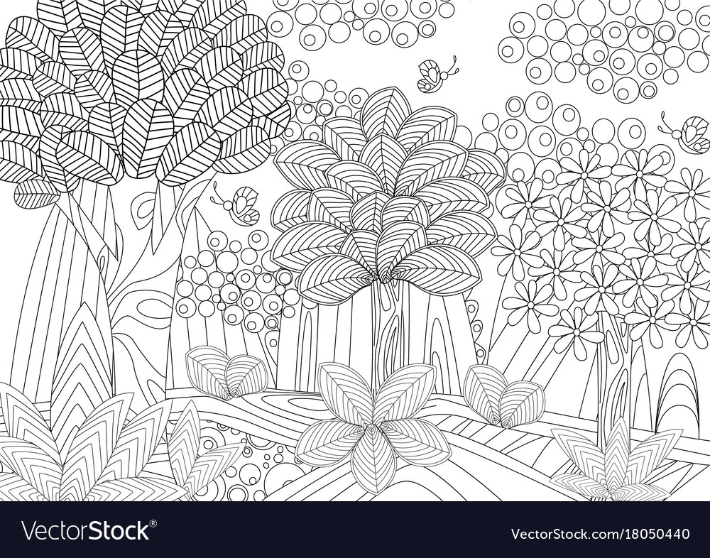 - Fantasy Forest For Coloring Book Royalty Free Vector Image