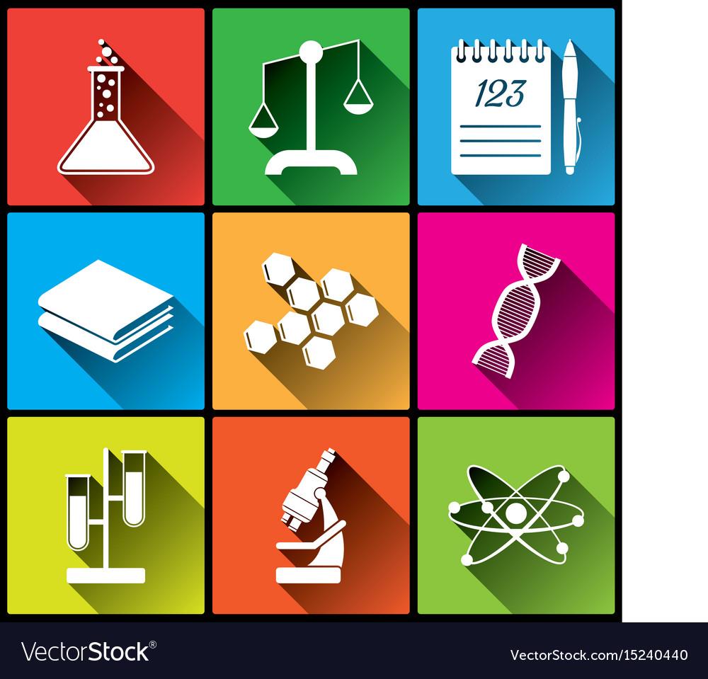 Flat chemistry square icons set
