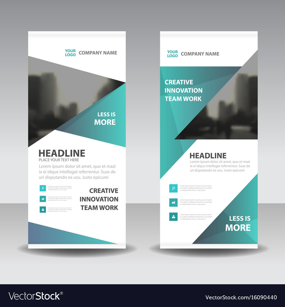 Green triangle business roll up banner flat