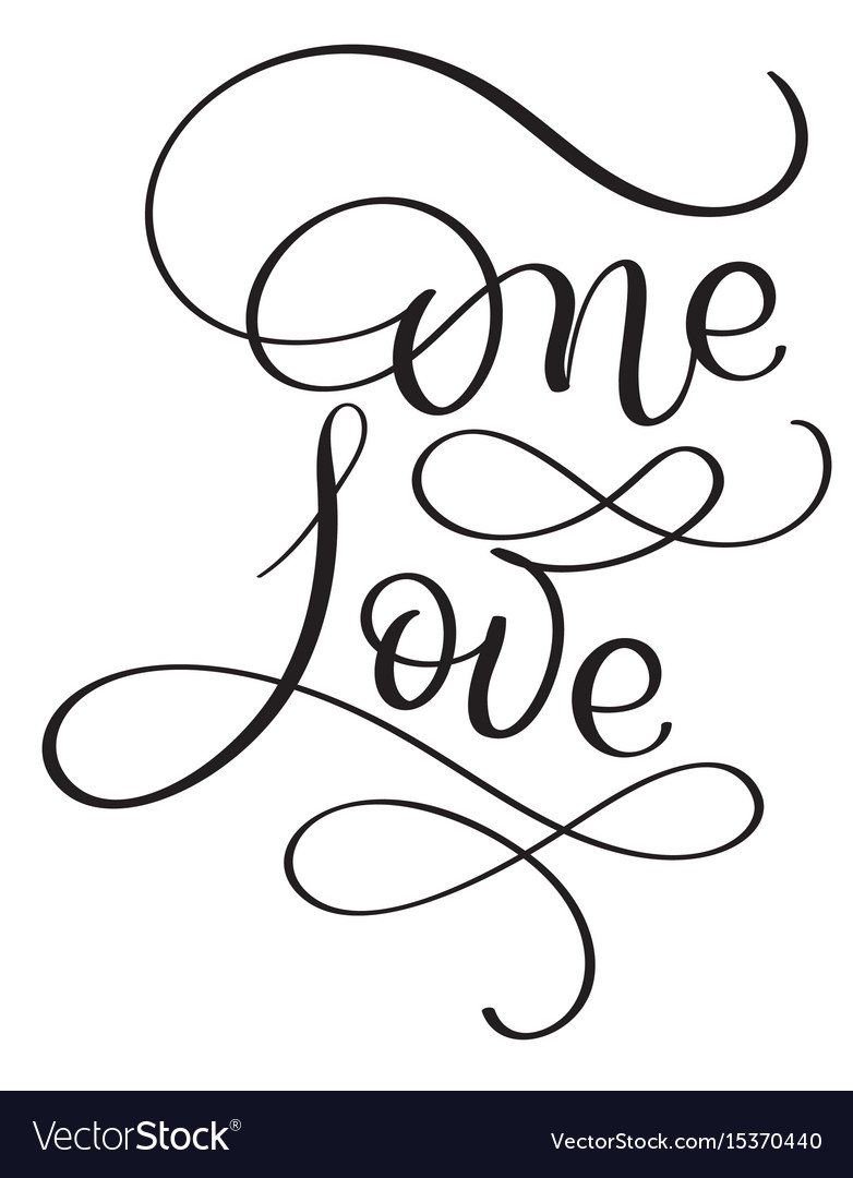 One love words on white background hand drawn