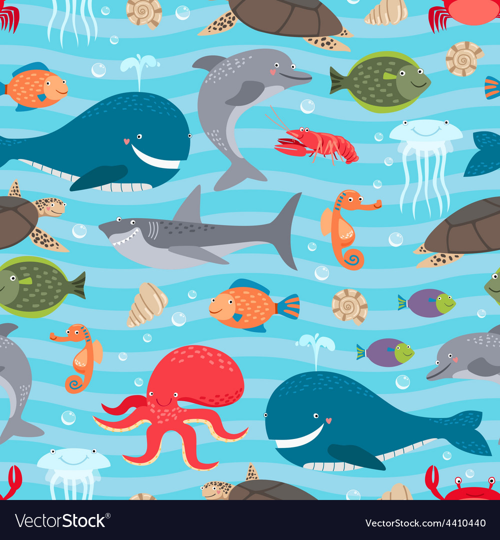 Sea creatures seamless background