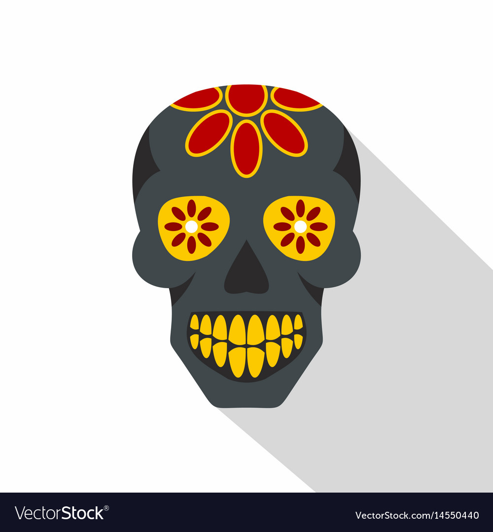 Sugar skull flowers on the skull icon flat style