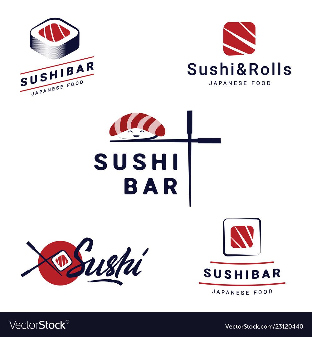 Sushi bar logos templates set collection