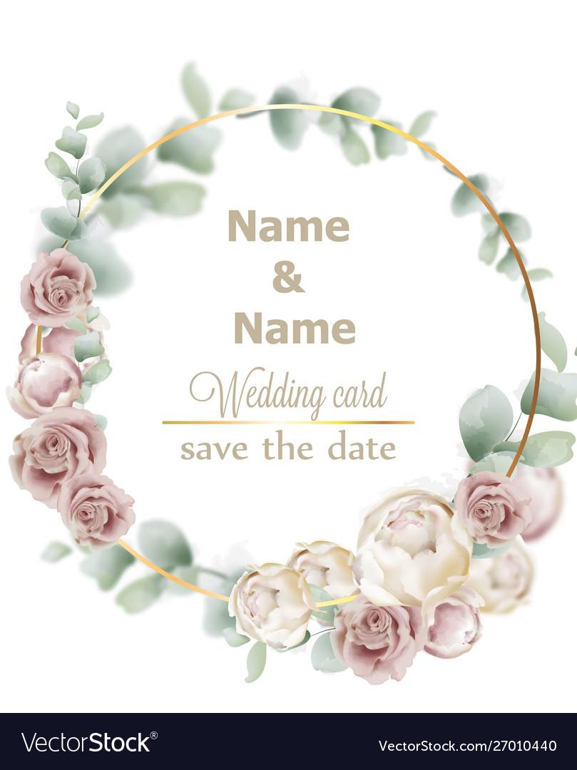 Wedding wreath watercolor roses vintage decor
