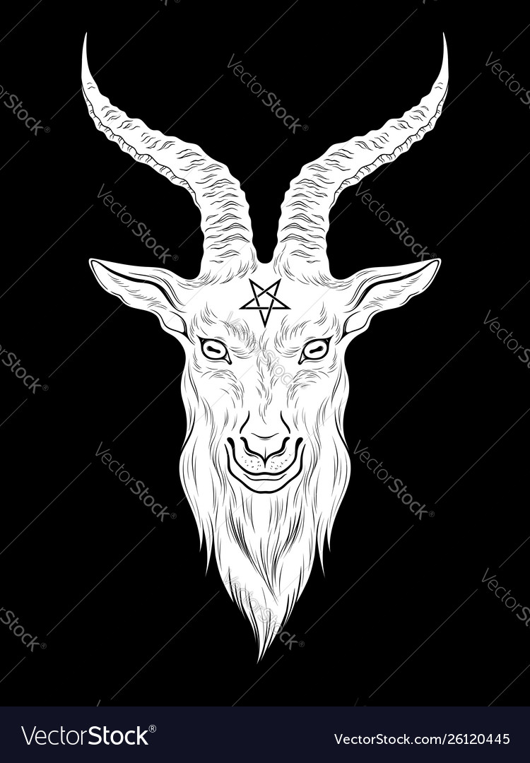 Baphomet demon goat head hand drawn print