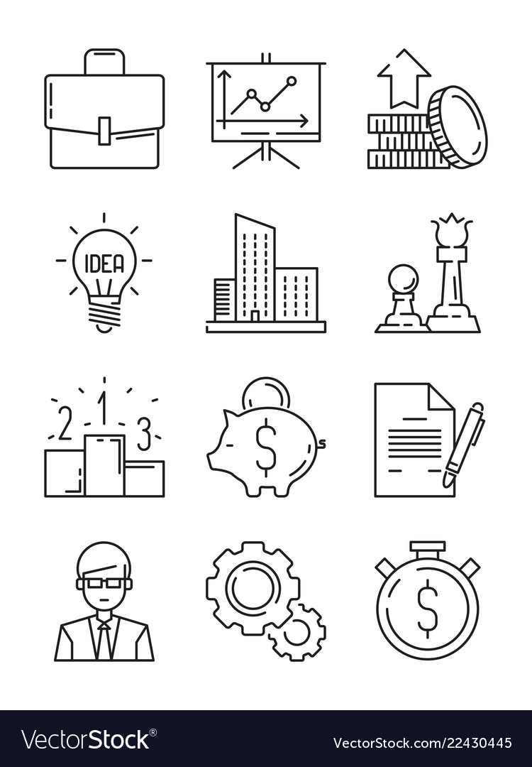 Business line icons money finance starting