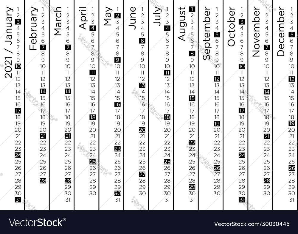 Creative calendar 2021 vertical stripes design Vector Image