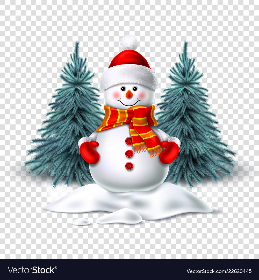 Cute realistic snowman in mittens scarf hat