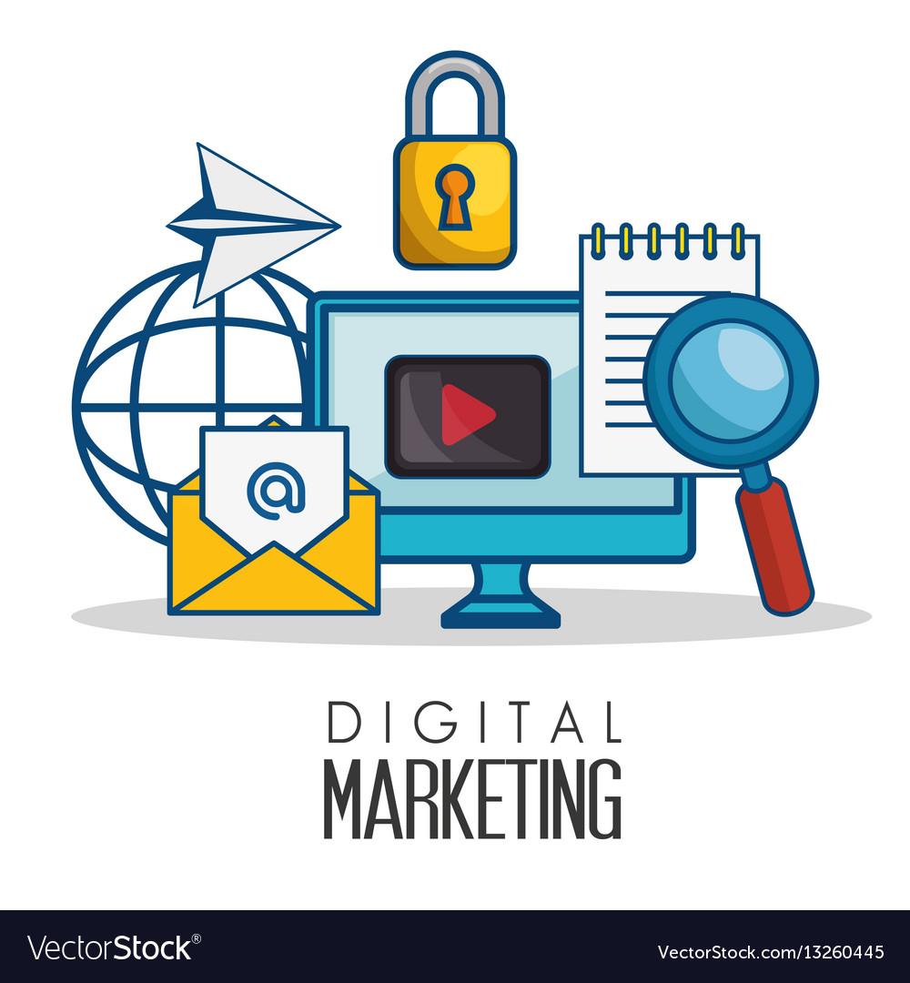 Digital marketing flat icons Royalty Free Vector Image