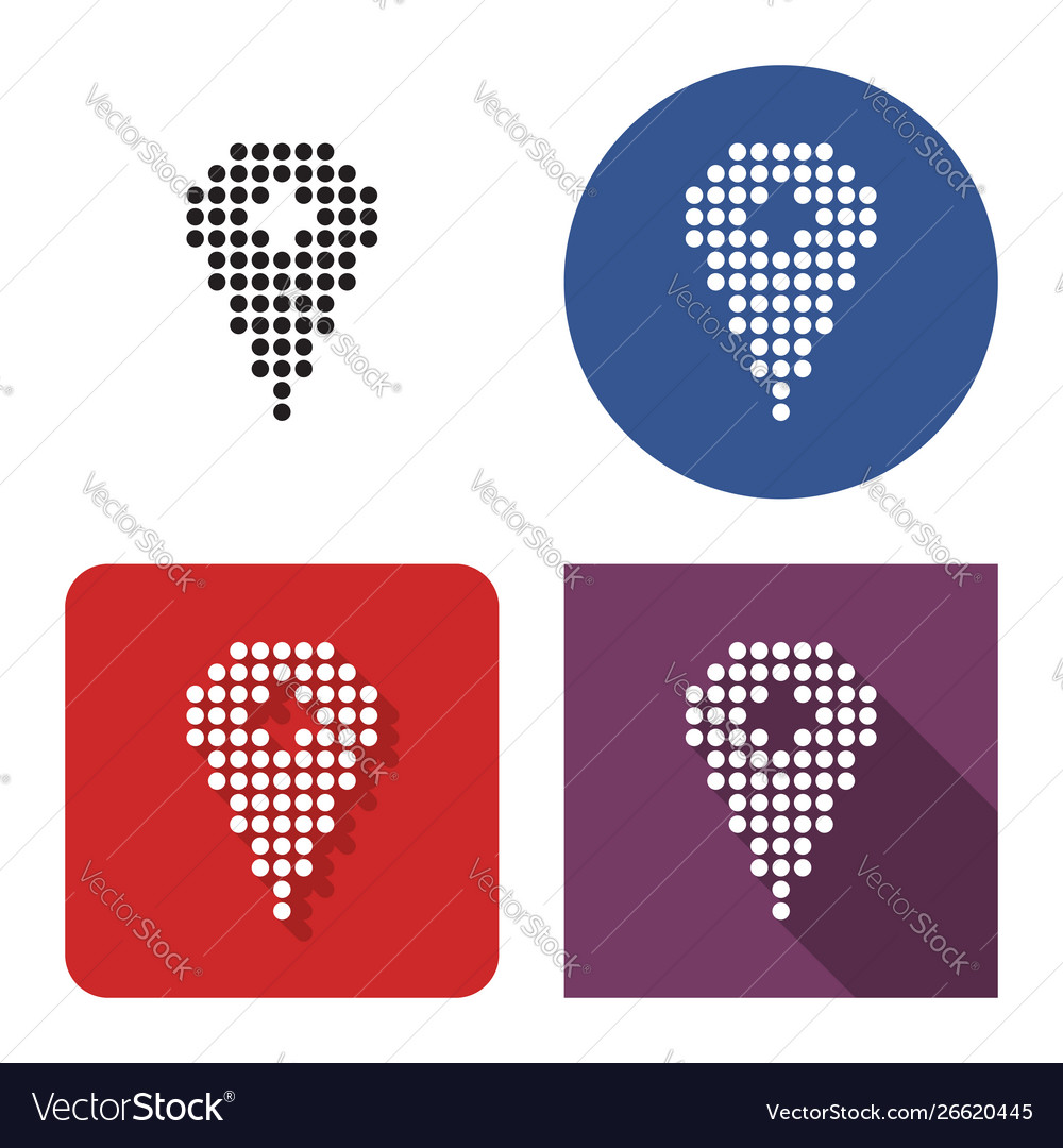 Dotted icon location in four variants with