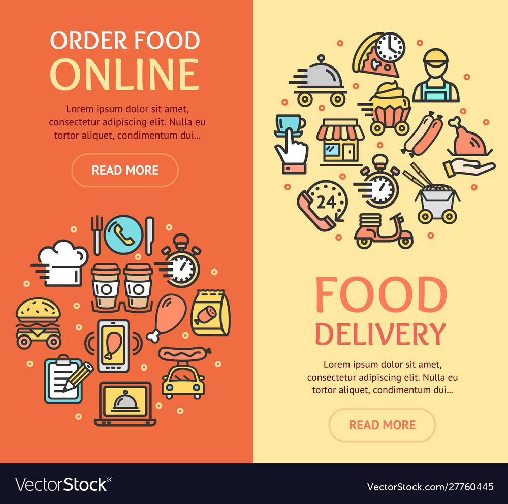 Food delivery service banner vecrtical set with
