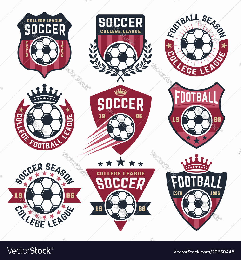 Football collection of nine colored emblems