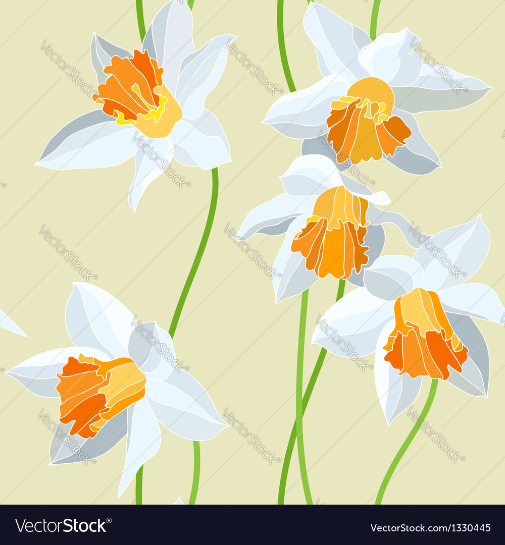 Narcissus seamless pattern