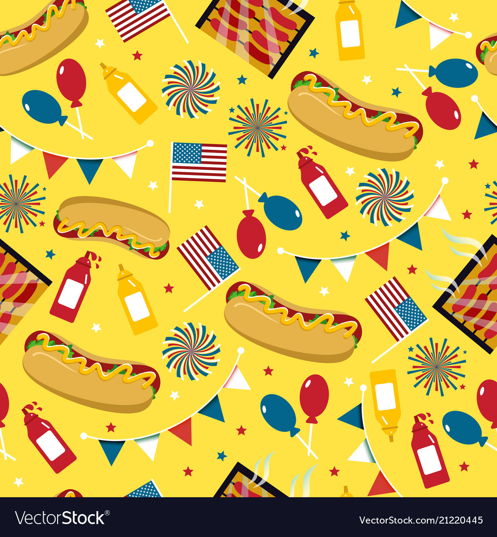 National hot dog day hot dog seamless