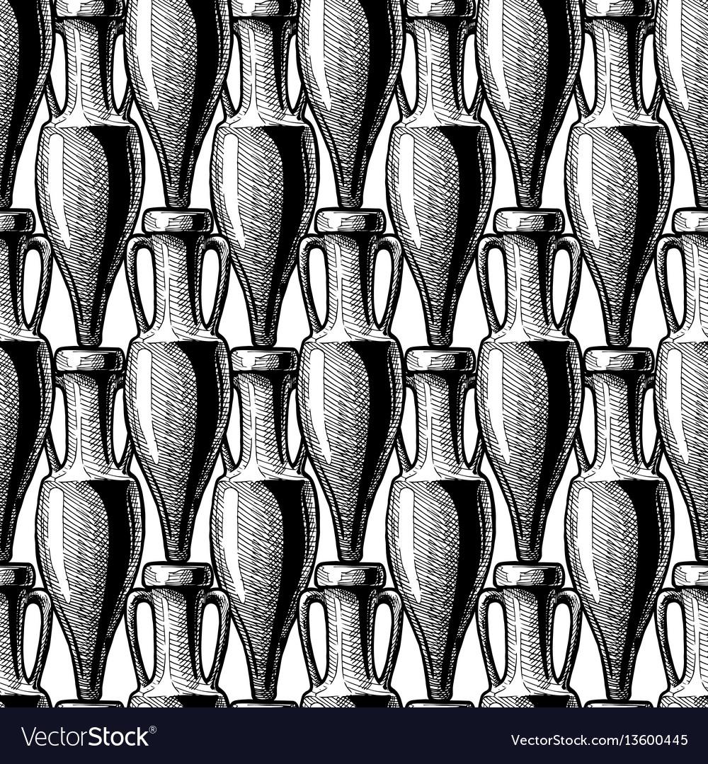 Seamless pattern with amphora