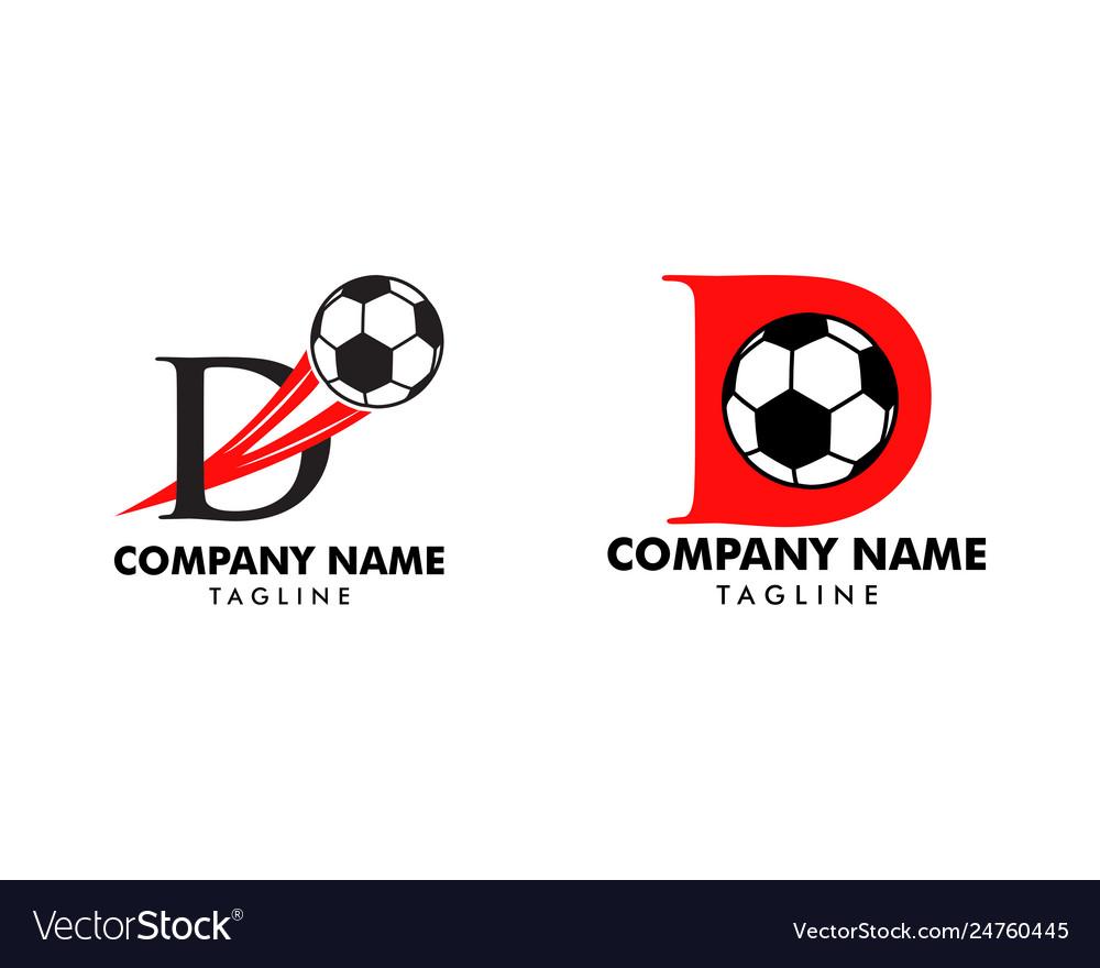 Set d letter logo football ball logo design
