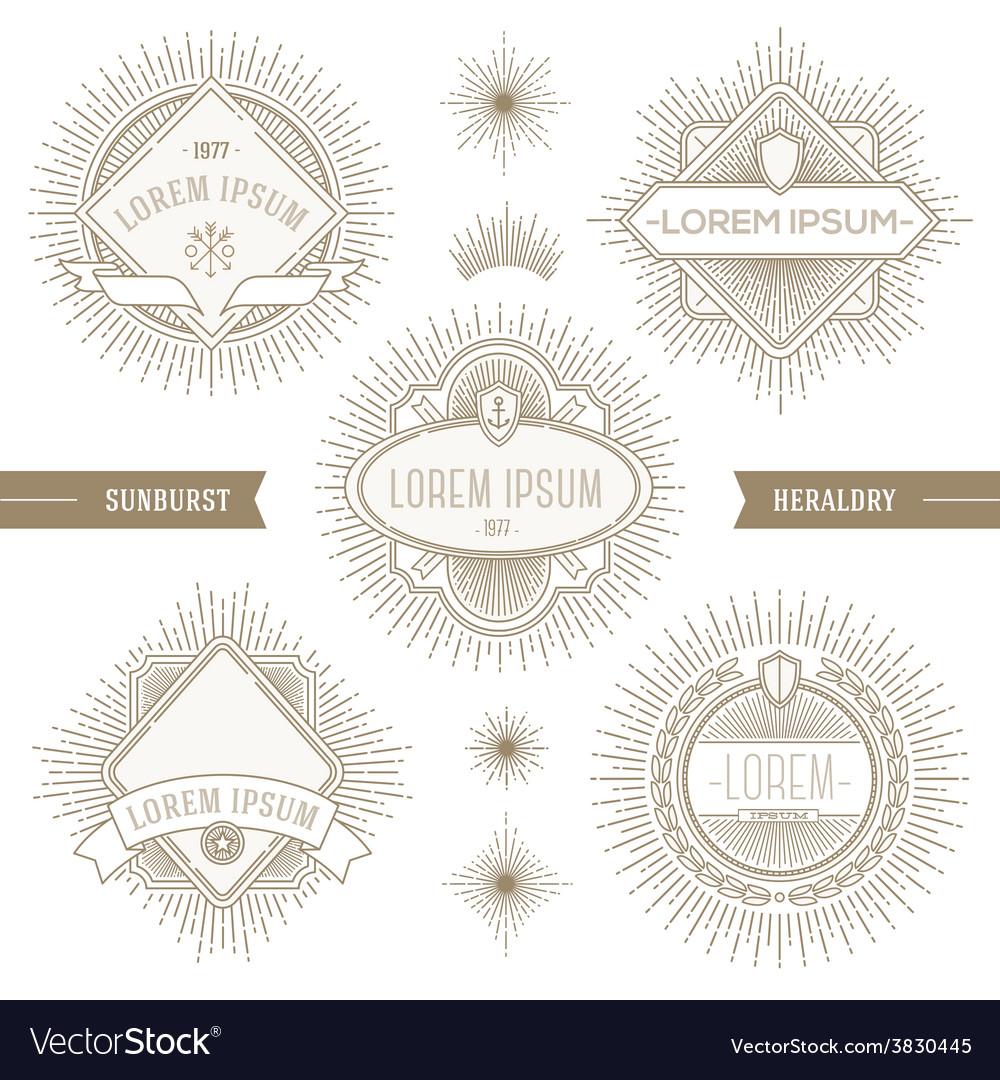 Set of line heraldic emblems with sunburst