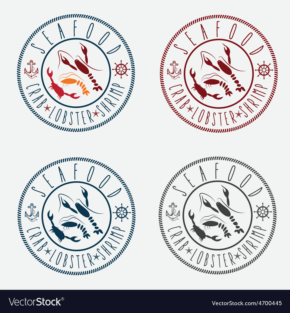 Set of seafood Labels in retro style