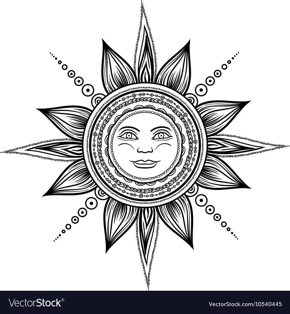 Vintage hand drawn sun eclipse