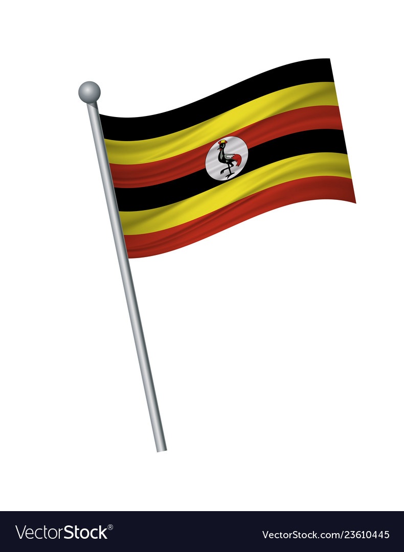 Waving of flag on flagpole official colors and