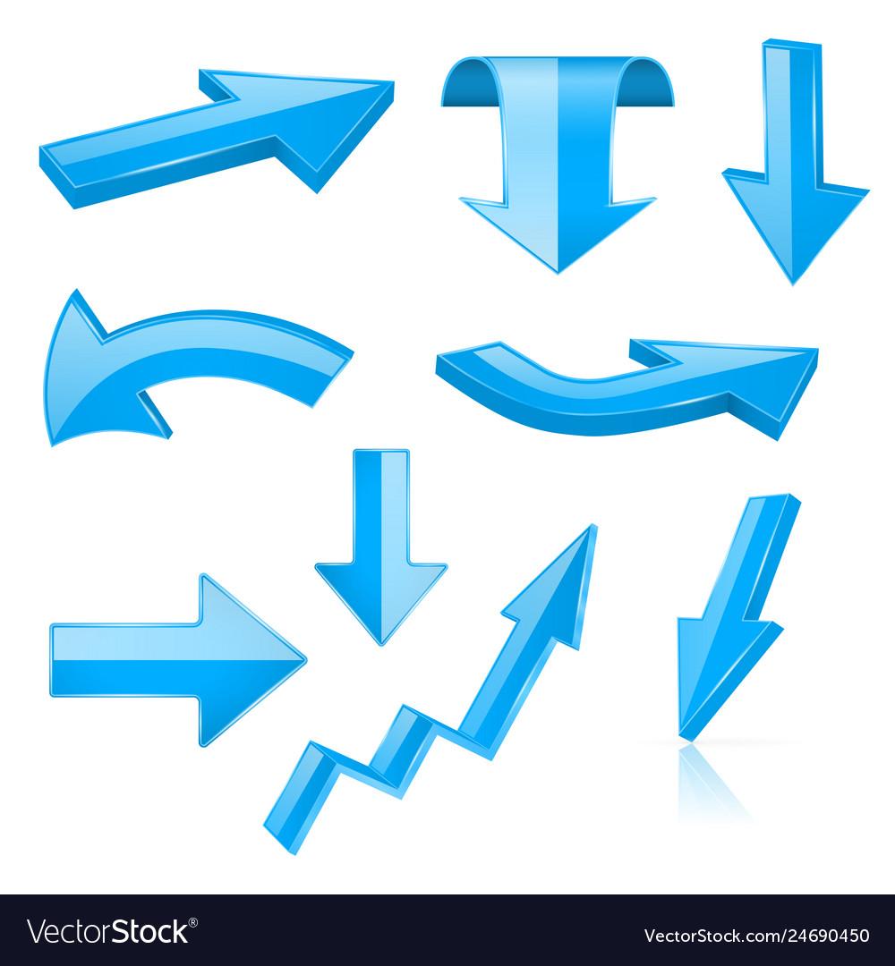 3d arrows blue signs and symbols