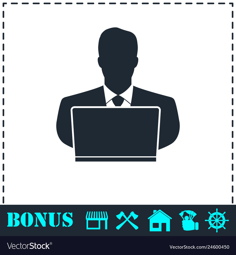 Businessman working on computer icon flat