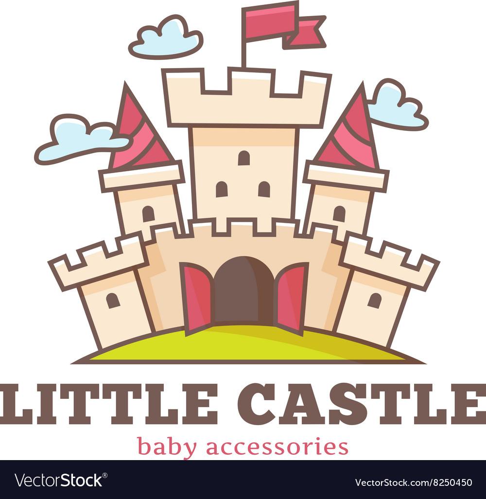 Cute little castle logo for baby shop Kids