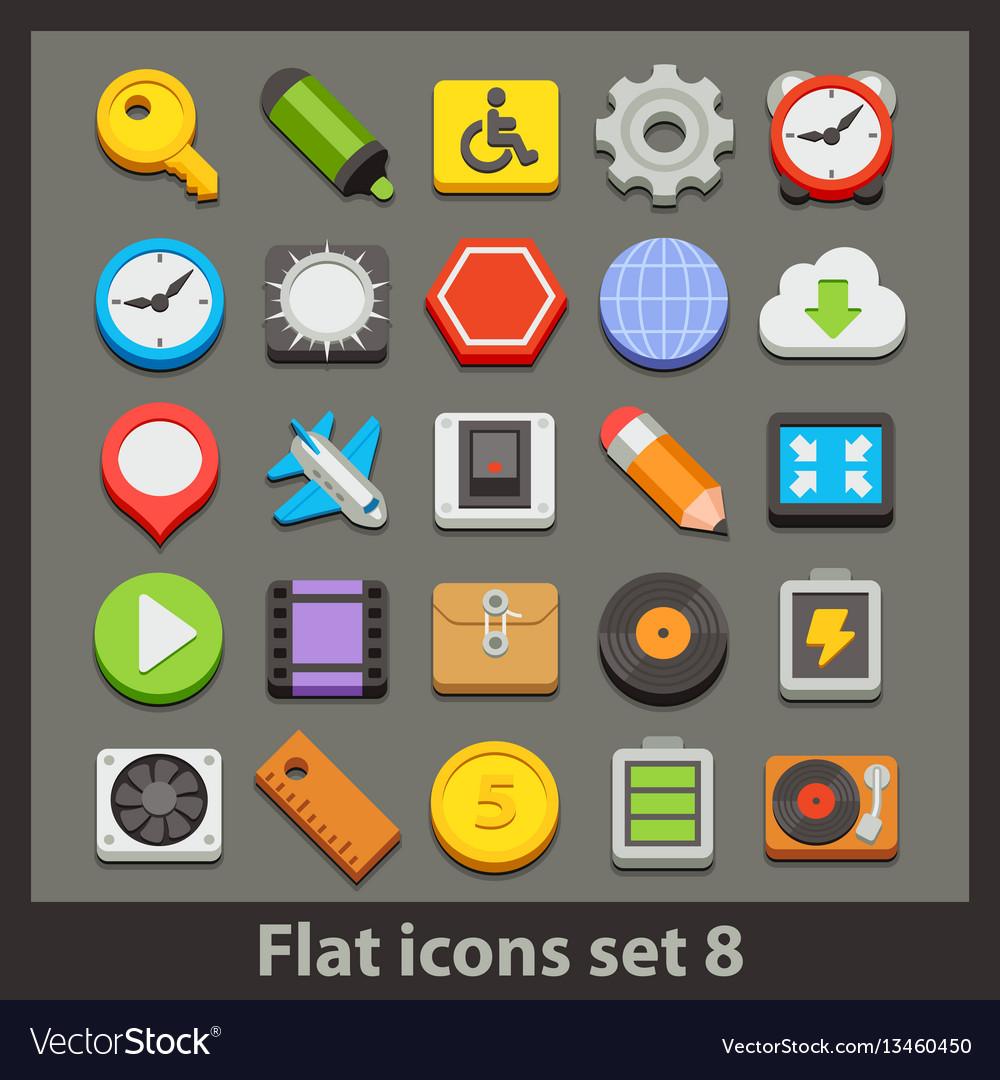 Flat icon-set 8