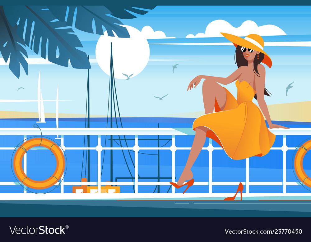 Flat young beauty girl on wharf near sea sailboat