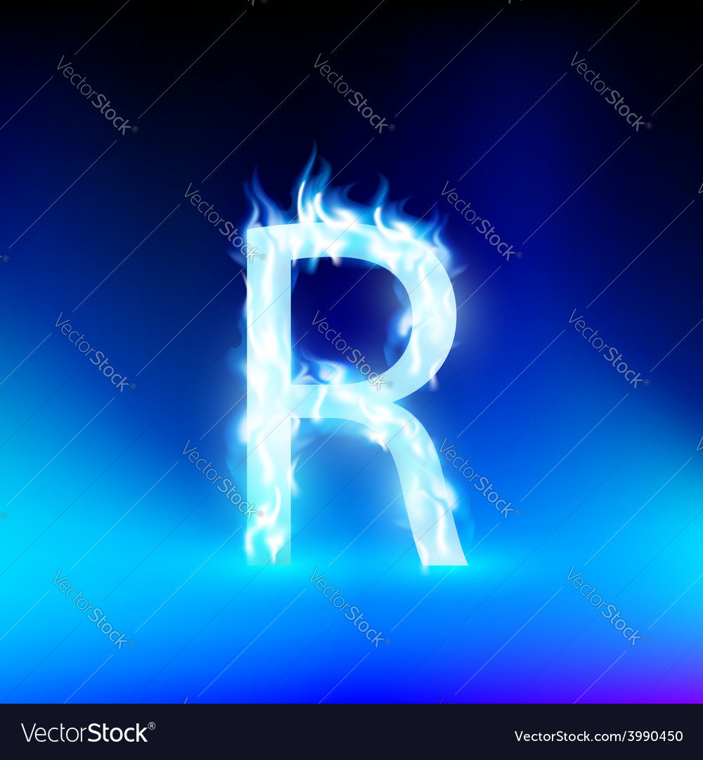 Letter With Blue Fire Royalty Free Vector Image