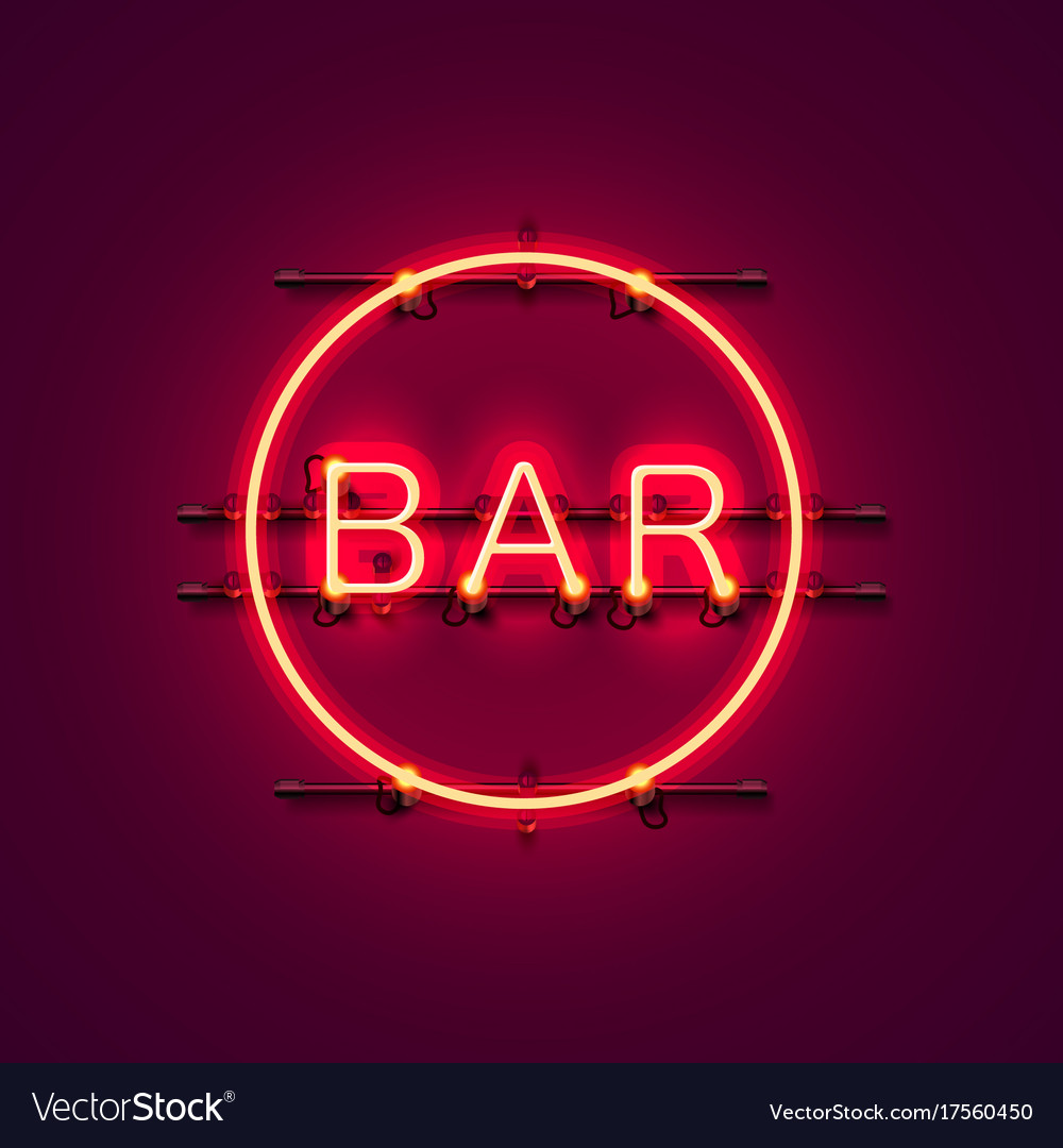 Neon bar signboard city color red