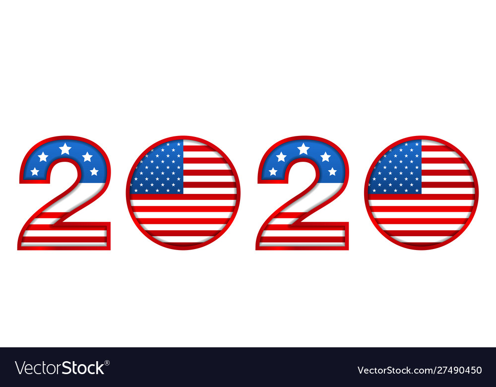 New year 2020 with national colors usa american