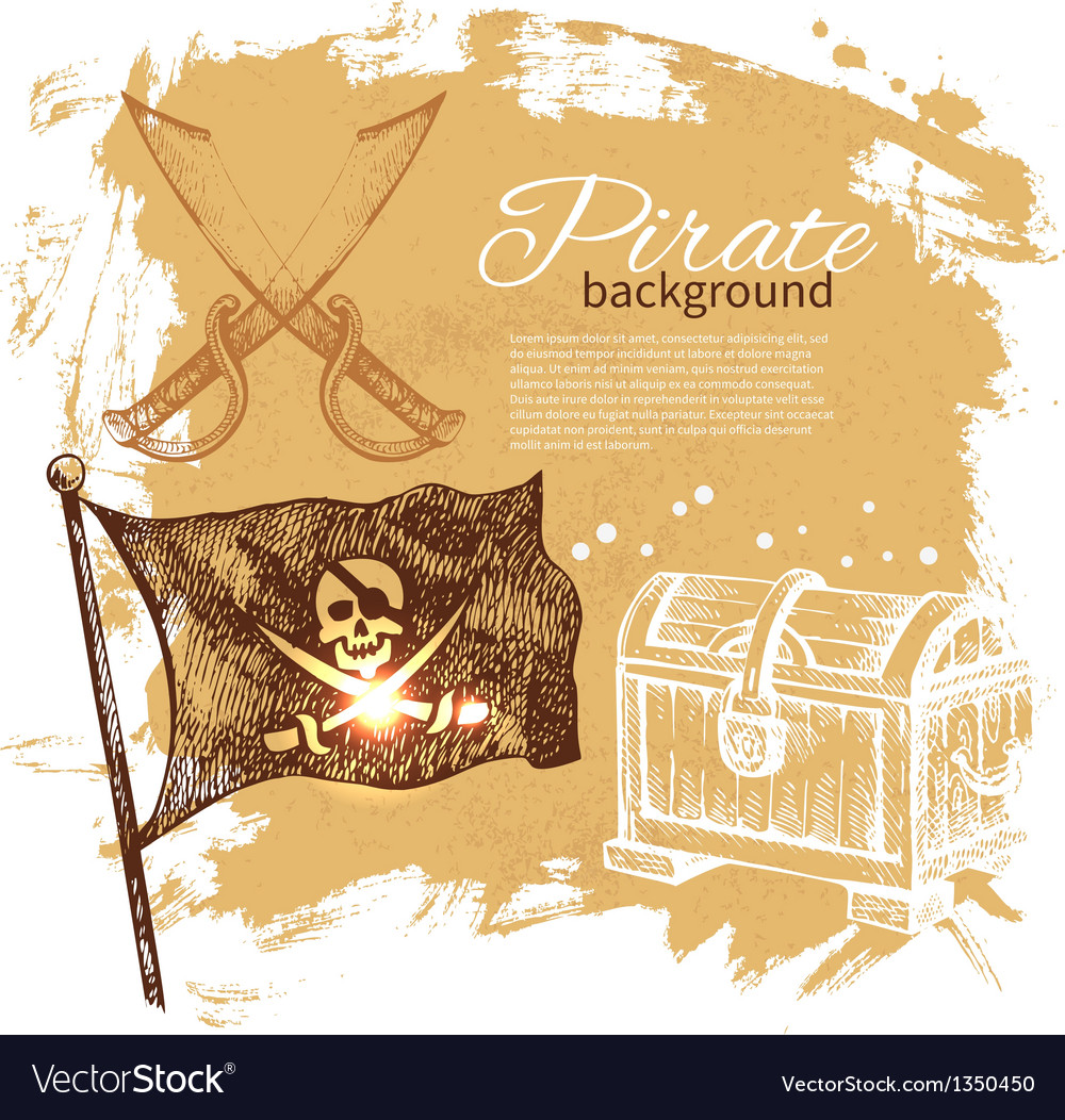Pirate vintage hand drawn background