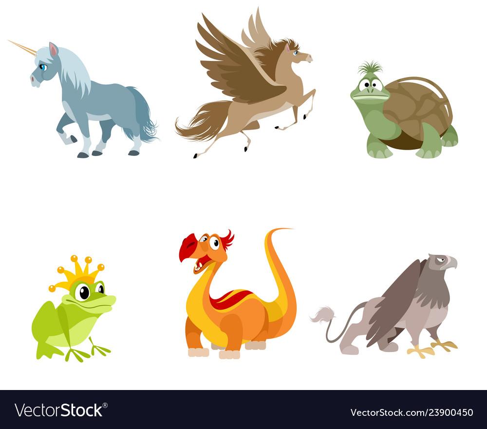 Set of fabulous creatures