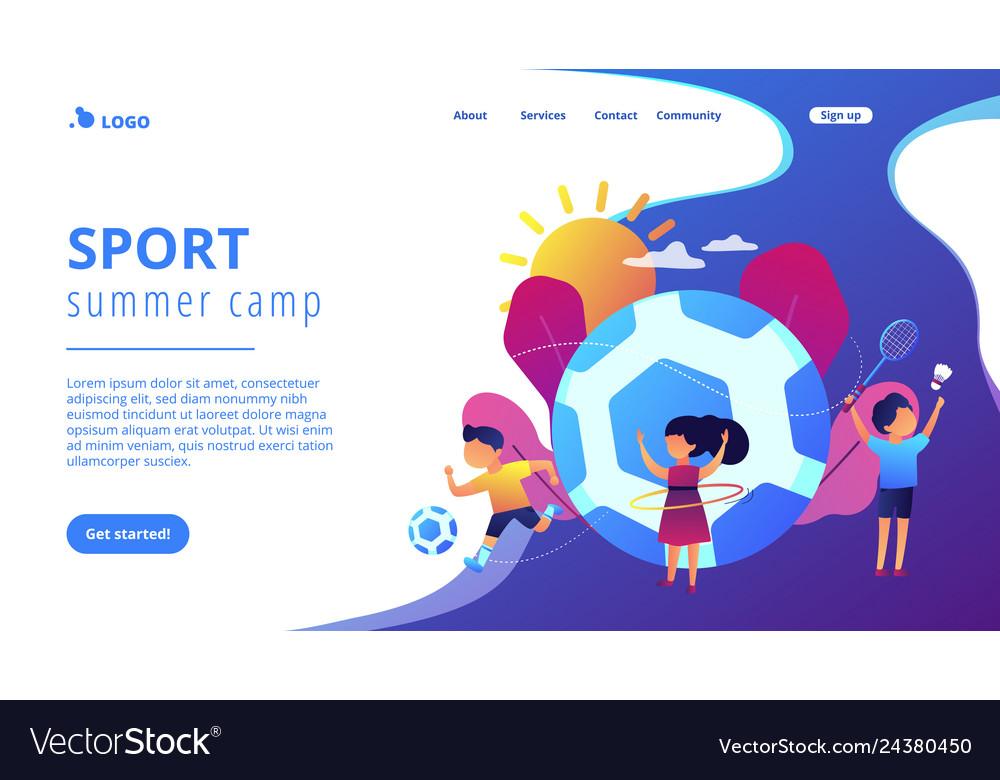 Sport summer camp concept landing page