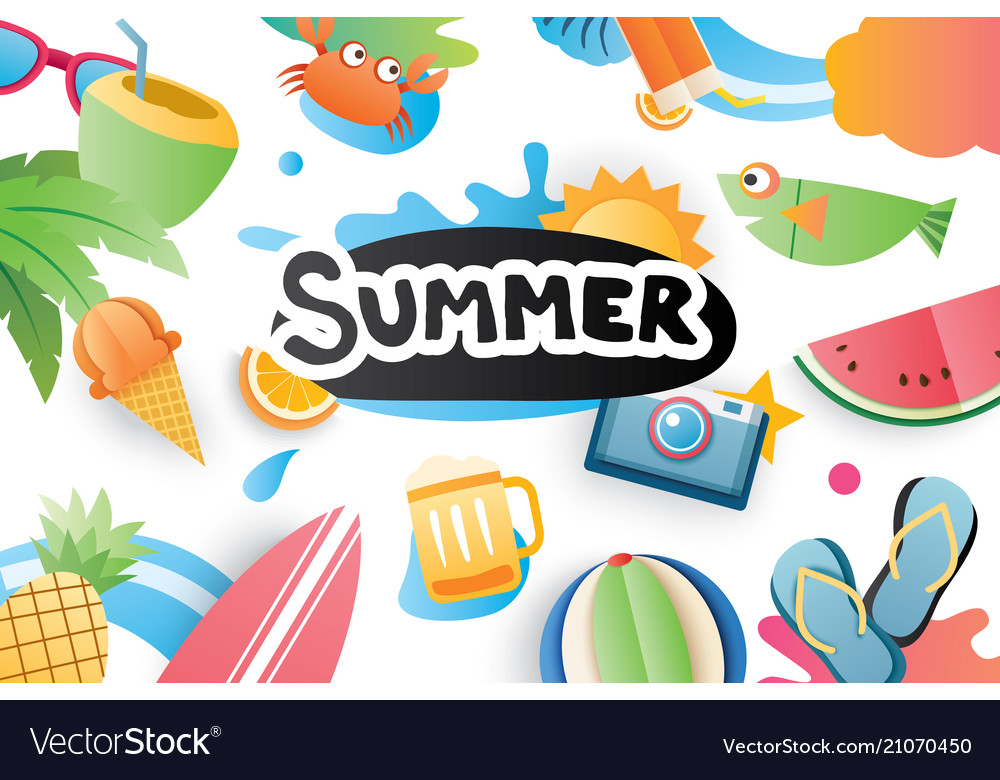 Summer cute symbol icon elements for beach party