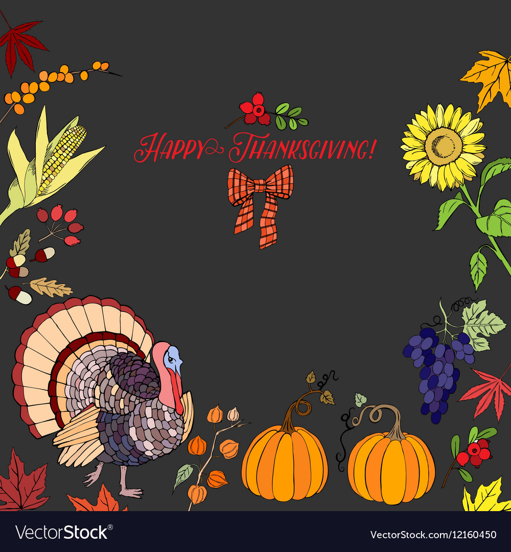 thanksgiving day decorations royalty free vector image rh vectorstock com  thanksgiving day table decorations