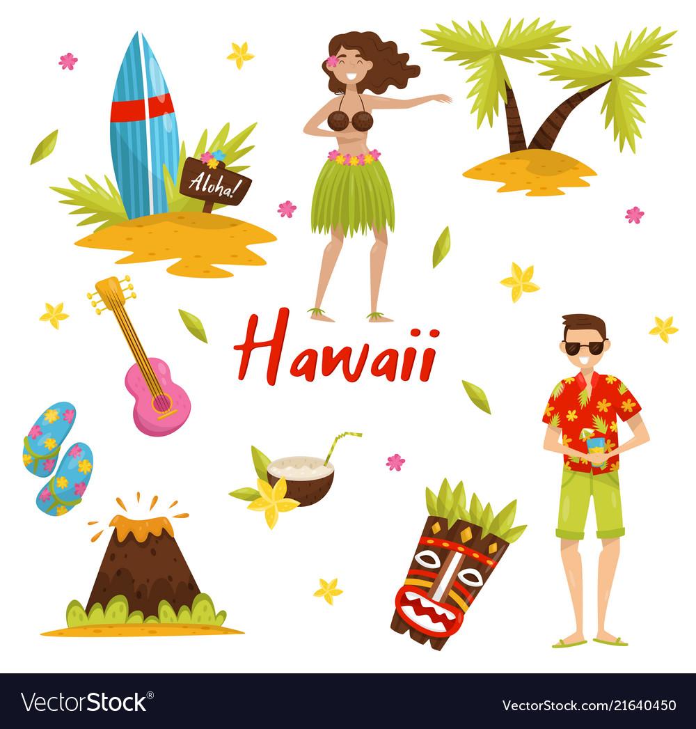 Traditional Symbols Of Hawaiian Culture Set Vector Image