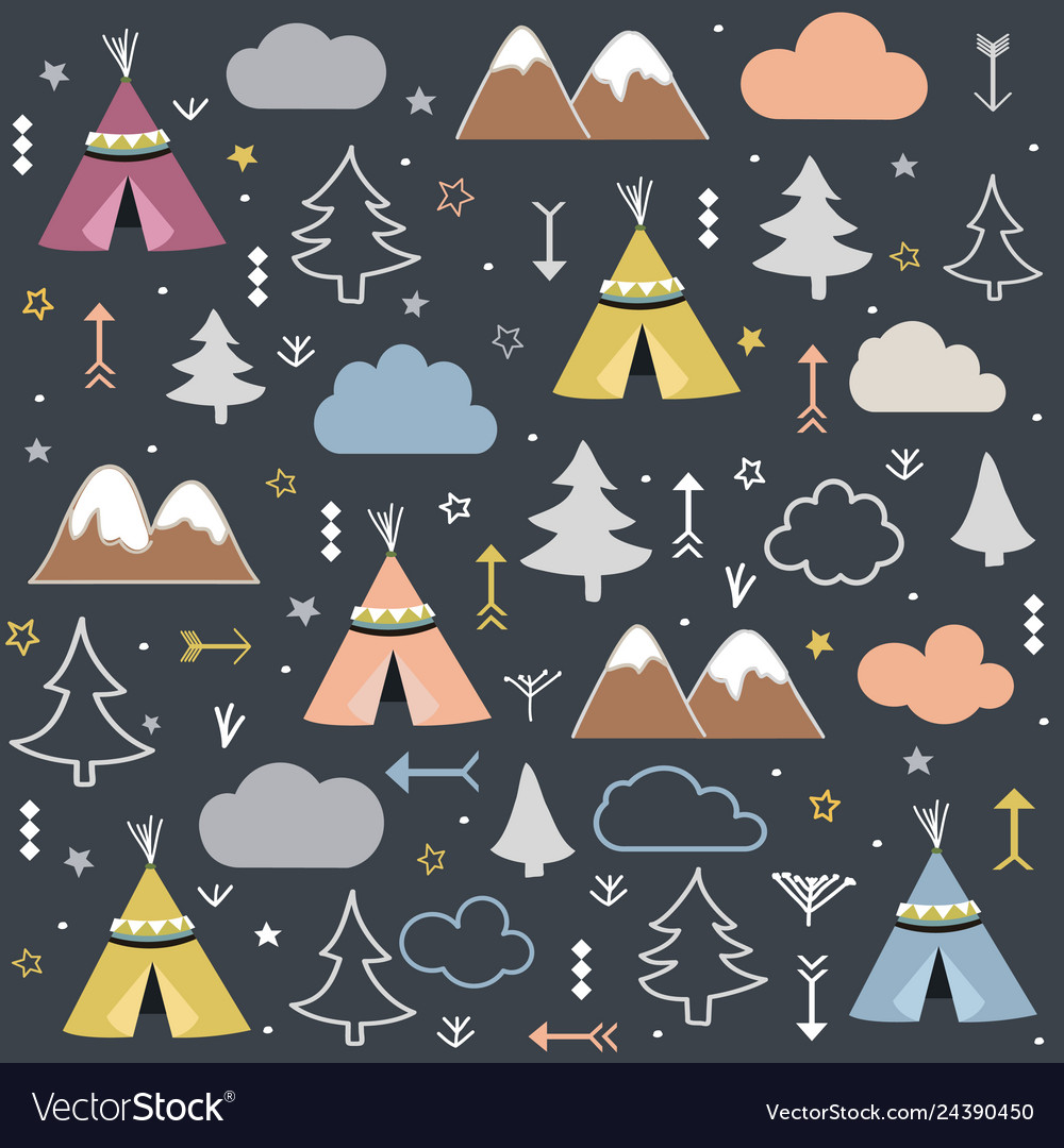 Wild and free teepees trees cloud pattern