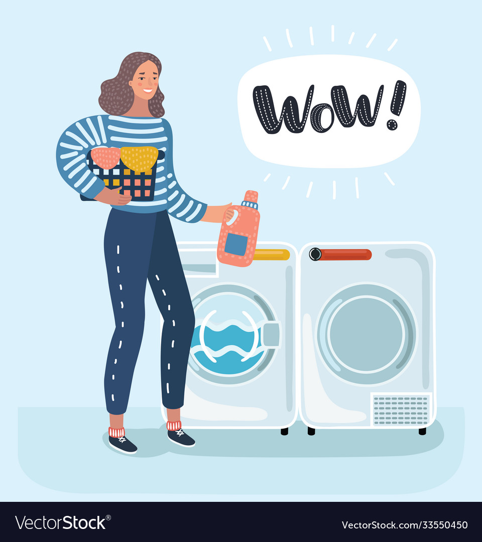 Woman housewife washes clothes in washing