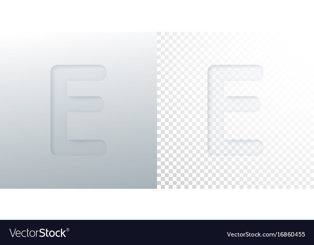 3d paper cut letter e isolated on transparent