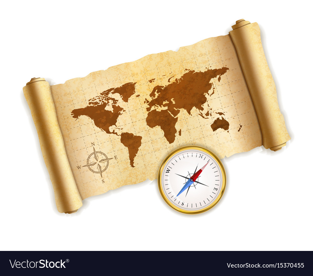 Ancient world map on old textured scroll with vector image gumiabroncs Gallery