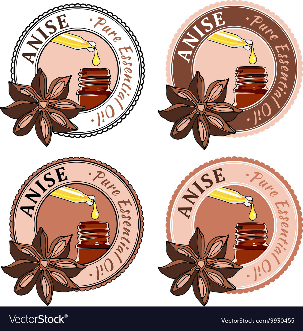 Anise Set of essential oil labels
