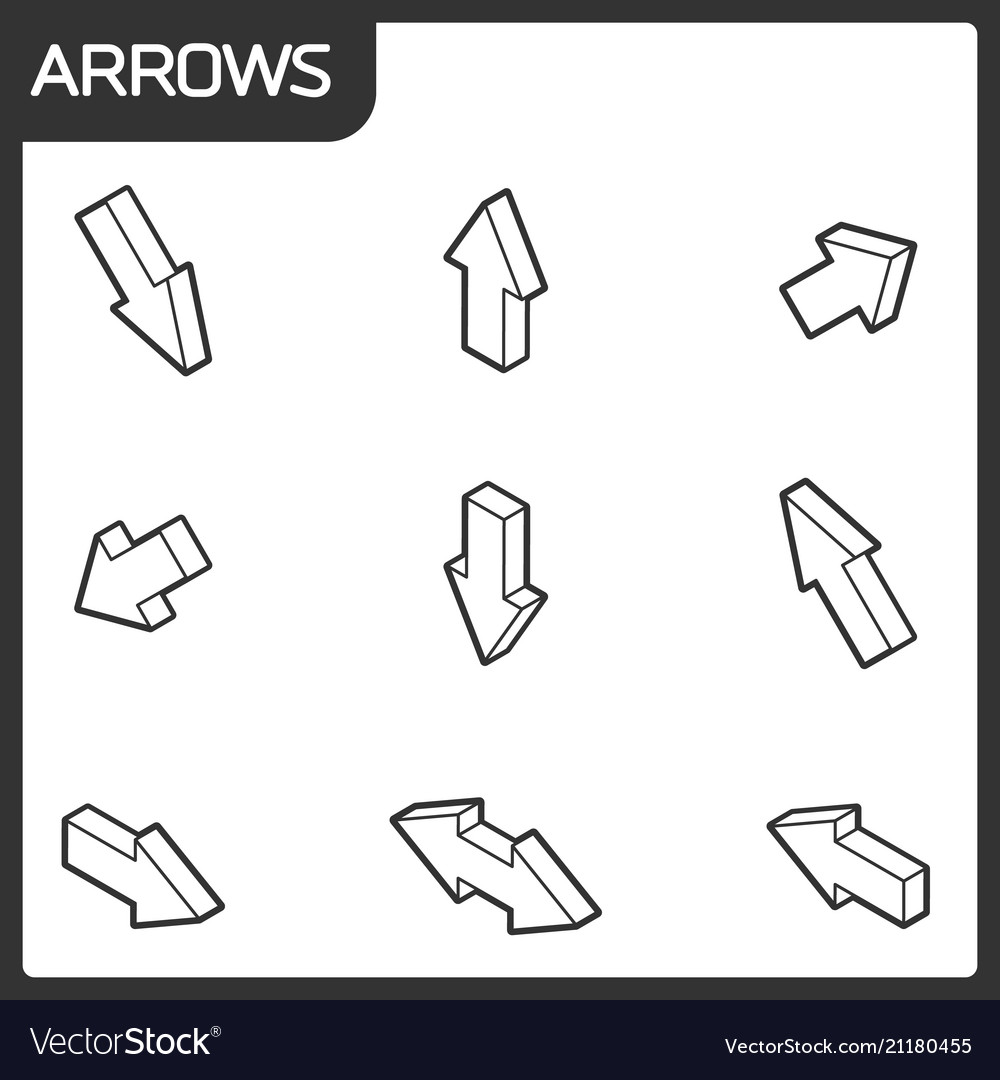 Arrows outline isometric icons