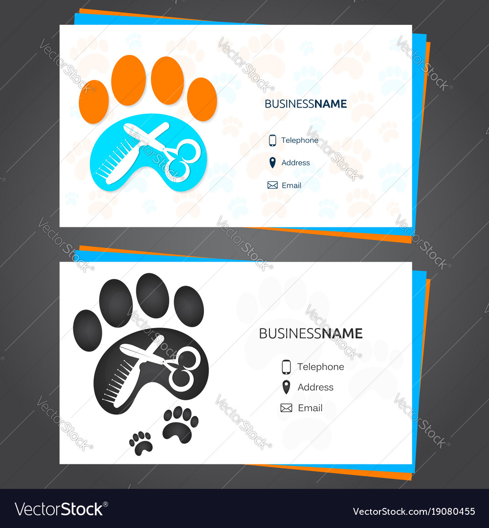 Barber animal business card Royalty Free Vector Image
