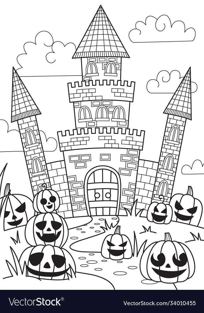 Doodle halloween coloring book page spooky castle