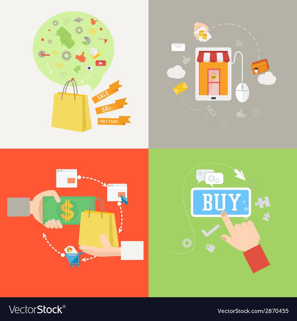 Element of shopping icon in flat design