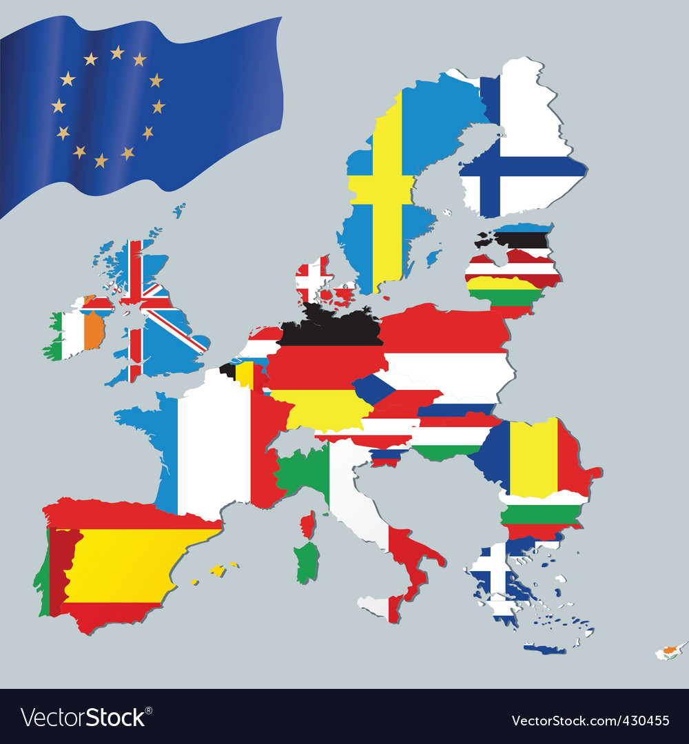 European union and flags vector image