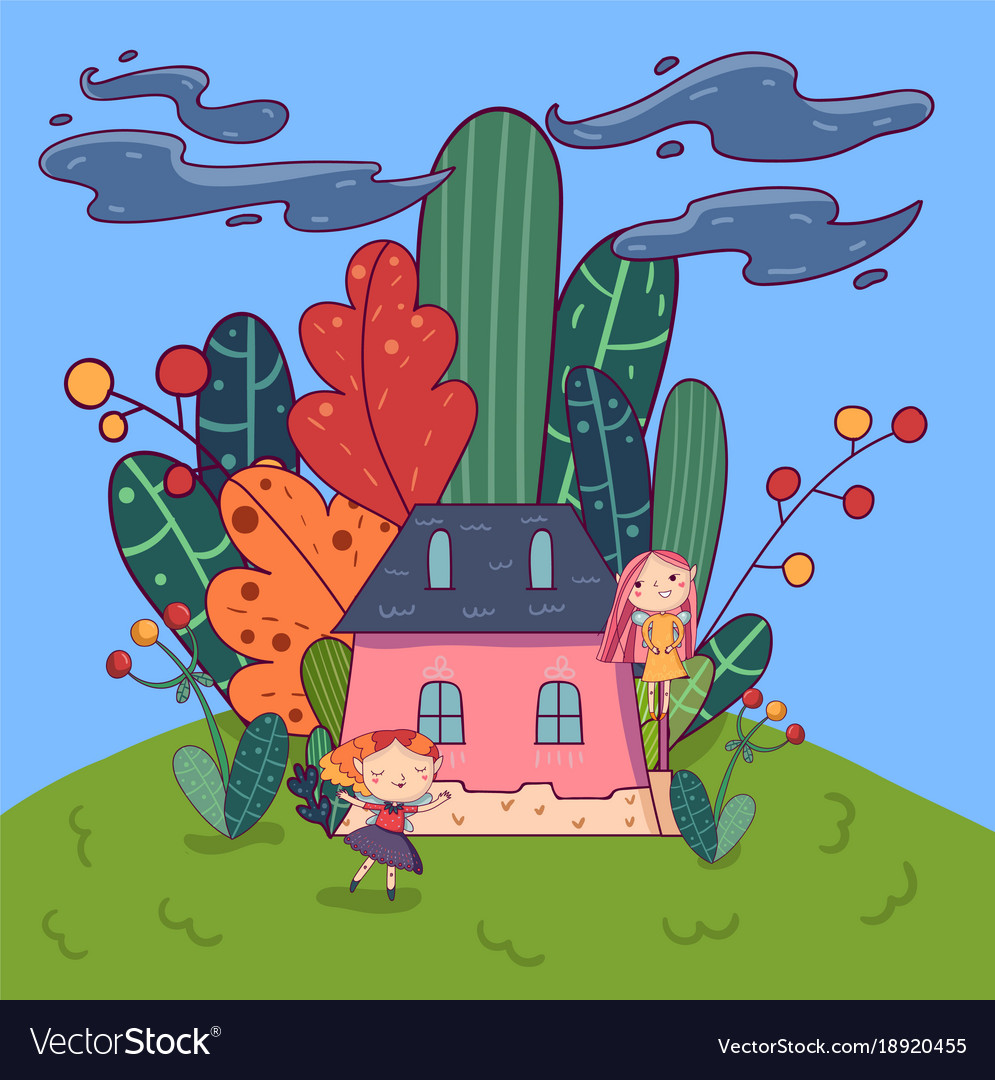 Picture of: Fairytale Landscape With Cute Pixie Girls And Vector Image